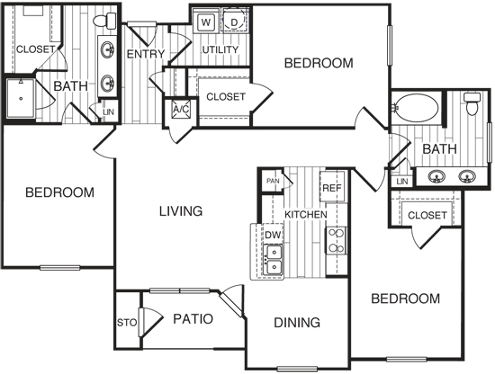 1,436 sq. ft. C1/Kelly floor plan