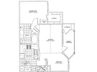 892 sq. ft. B floor plan