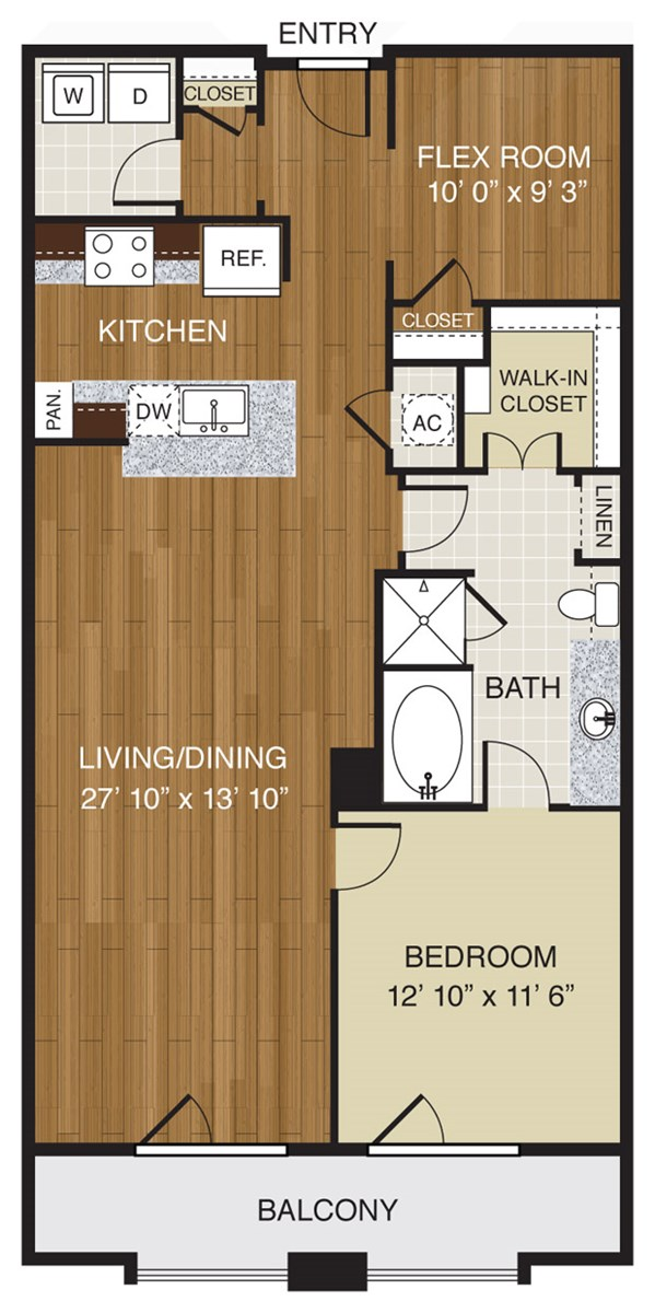 743 sq. ft. A2.2b floor plan