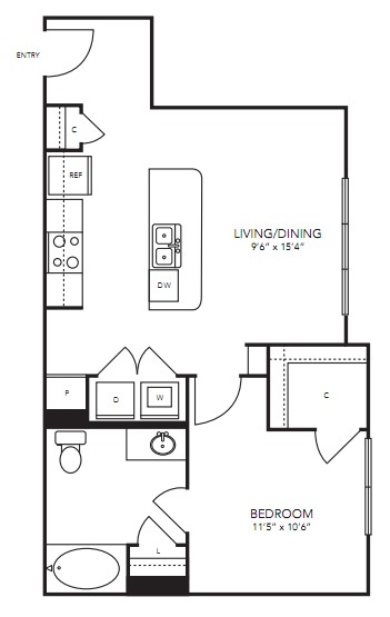 712 sq. ft. A4 floor plan
