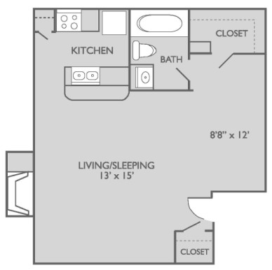 484 sq. ft. E1n3 floor plan