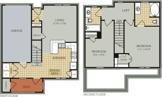 1,112 sq. ft. B2/50% floor plan