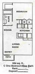 684 sq. ft. A3 floor plan