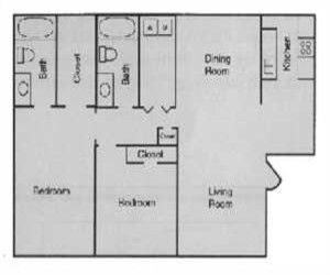 906 sq. ft. B1 floor plan