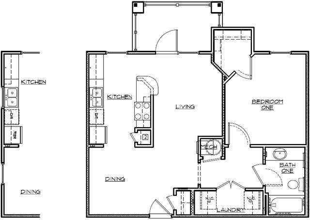 715 sq. ft. Mkt floor plan