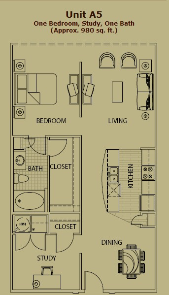 973 sq. ft. A5 floor plan