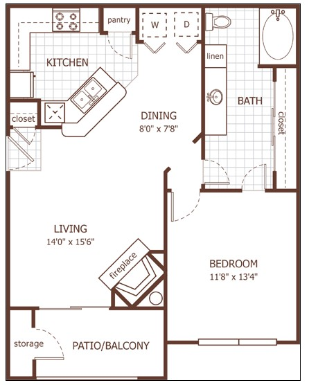 752 sq. ft. Chelsea floor plan