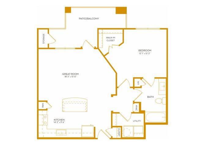799 sq. ft. A5 floor plan