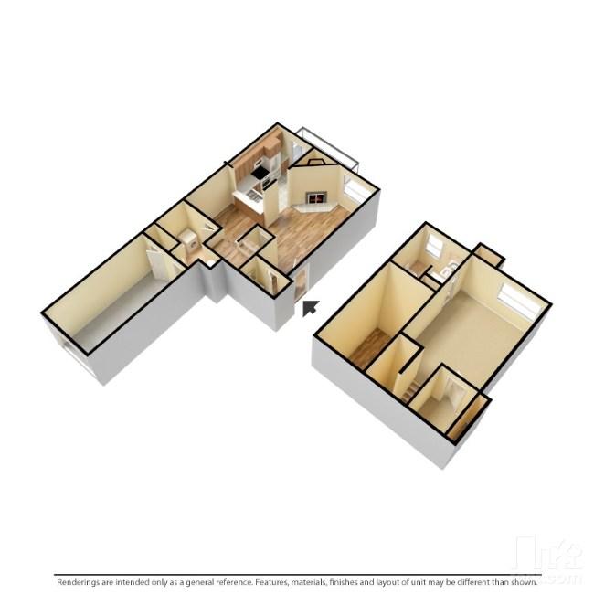 900 sq. ft. A1-G floor plan