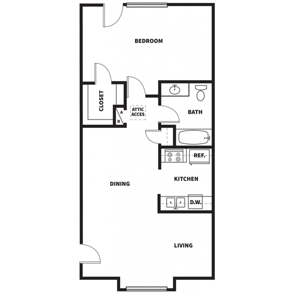 837 sq. ft. D floor plan