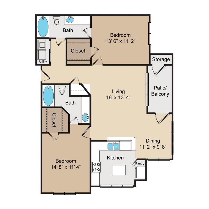 1,103 sq. ft. B2 floor plan