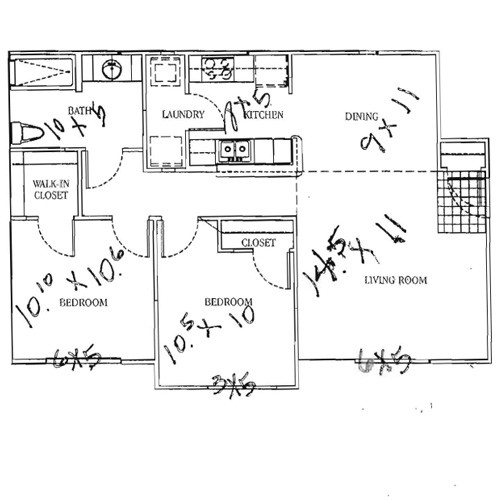 895 sq. ft. 50 floor plan