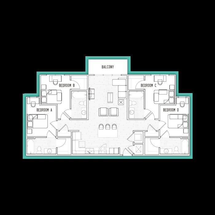 1,386 sq. ft. D1 floor plan