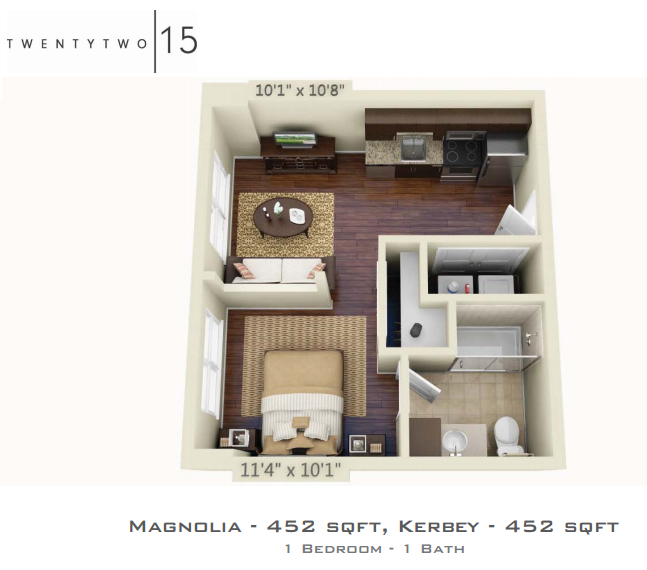 452 sq. ft. MAGNOLIA floor plan