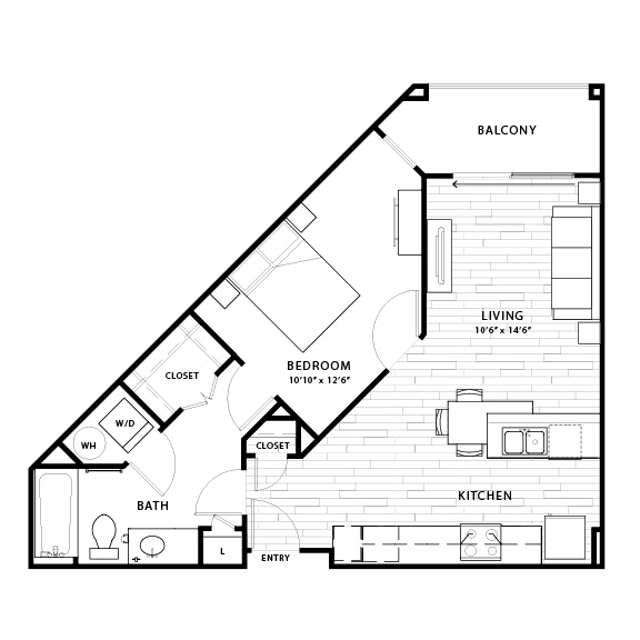 696 sq. ft. A2a floor plan