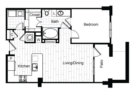 753 sq. ft. A3.2 floor plan