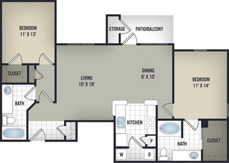 1,147 sq. ft. B2 floor plan