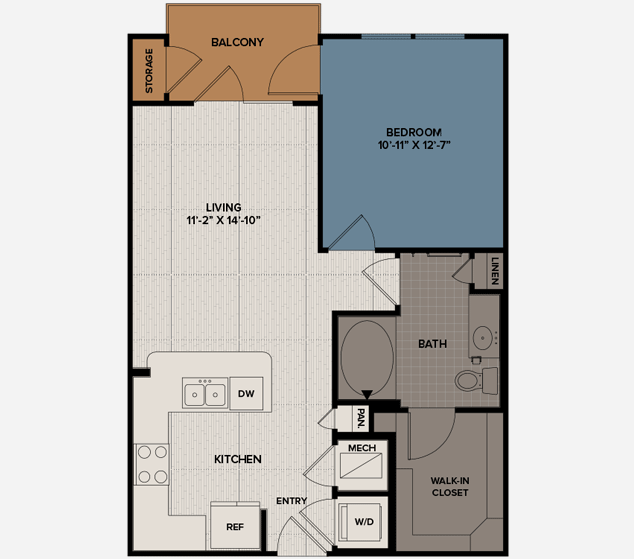 683 sq. ft. A7 floor plan