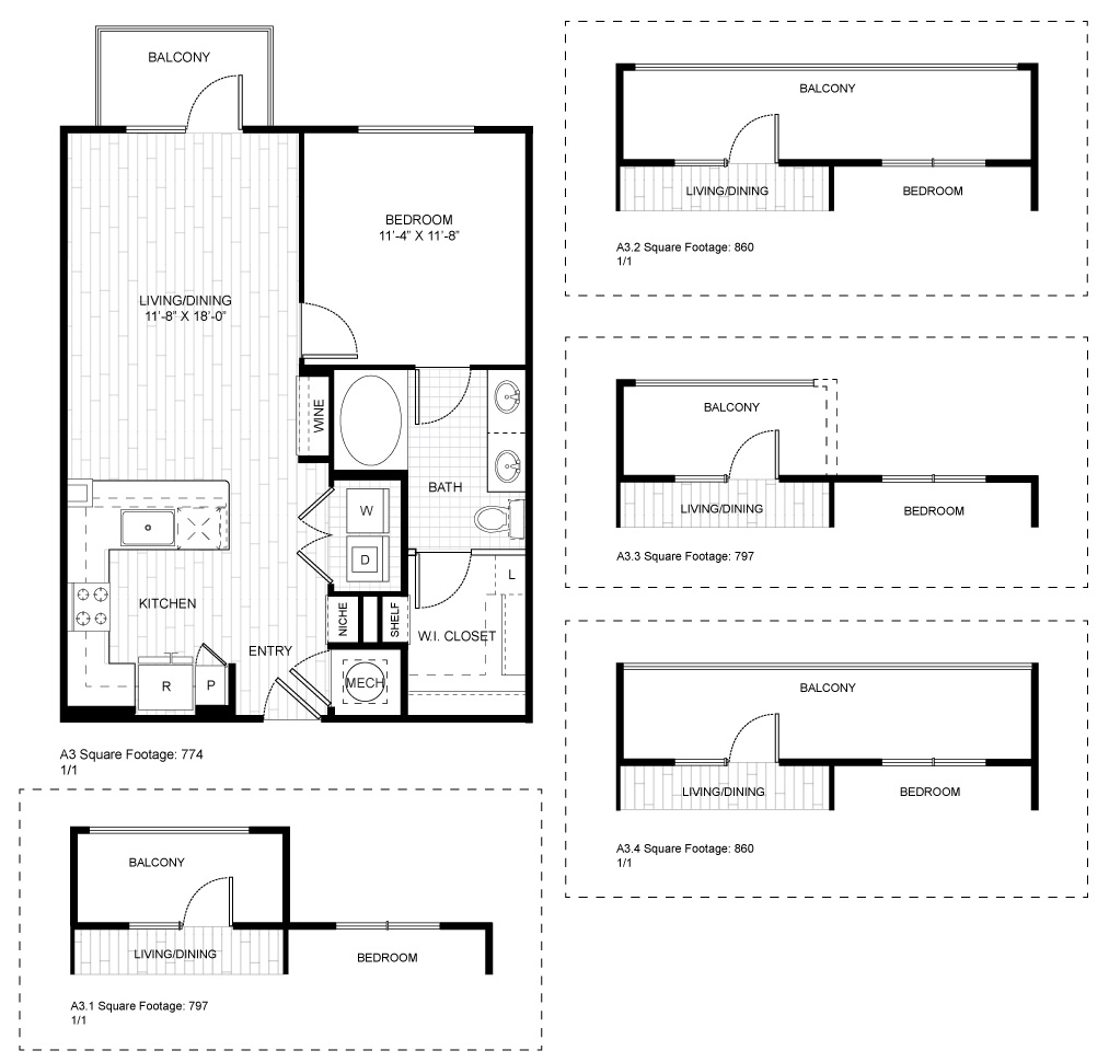 837 sq. ft. A6 floor plan