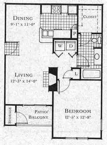 727 sq. ft. A2 floor plan