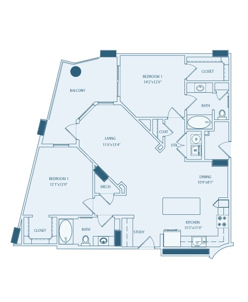 1,201 sq. ft. B2B floor plan