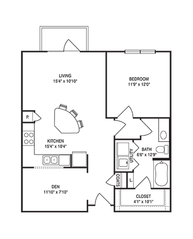 835 sq. ft. to 862 sq. ft. A2 floor plan