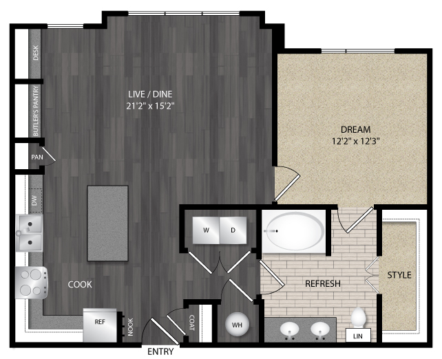 866 sq. ft. A5.5 floor plan