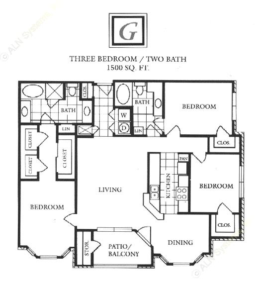 1,500 sq. ft. G floor plan