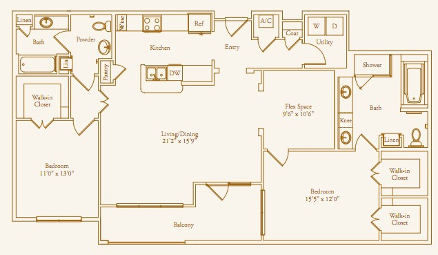 1,522 sq. ft. Chevy Chase floor plan