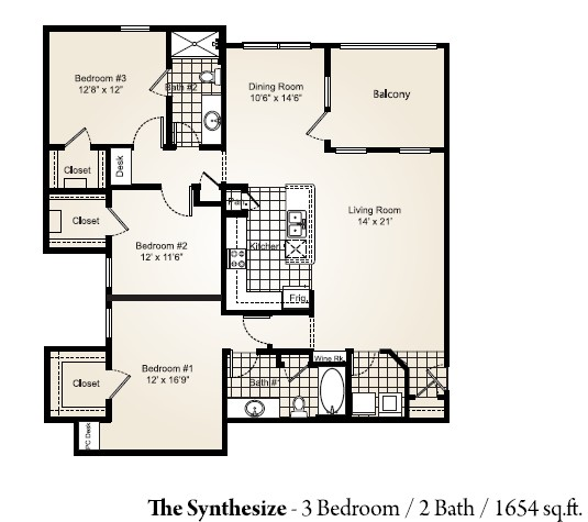 1,654 sq. ft. SYNTHESIZE floor plan