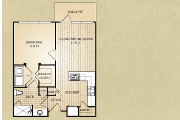 626 sq. ft. Brazos floor plan