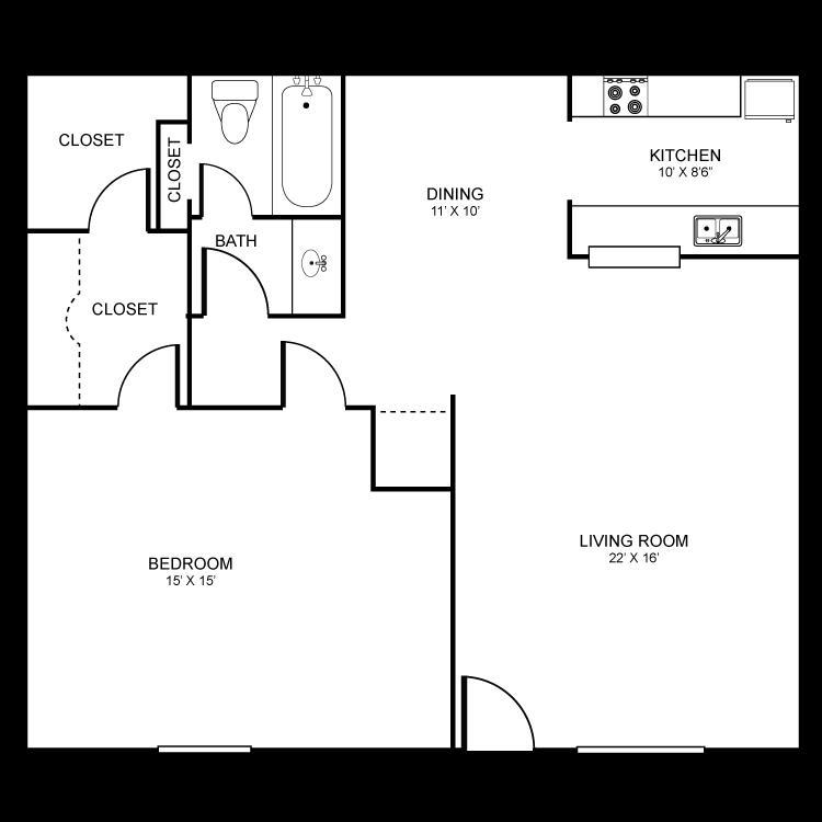 684 sq. ft. floor plan