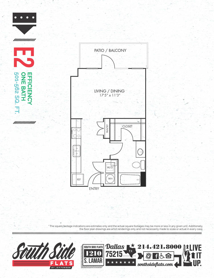 501 sq. ft. to 562 sq. ft. E2 floor plan