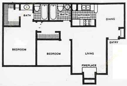 911 sq. ft. Mkt floor plan