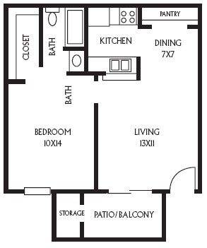 565 sq. ft. A1 floor plan