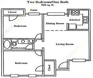 920 sq. ft. I floor plan