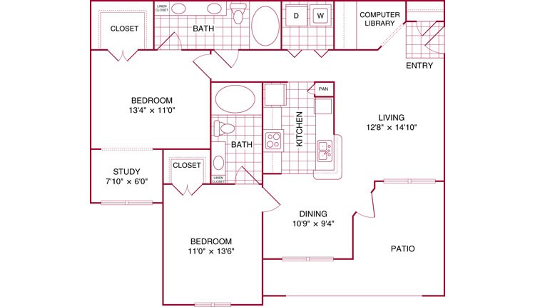 1,157 sq. ft. K floor plan