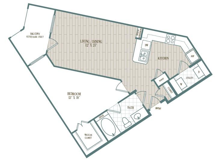 783 sq. ft. Santa Barbara floor plan