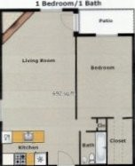 692 sq. ft. A3 floor plan