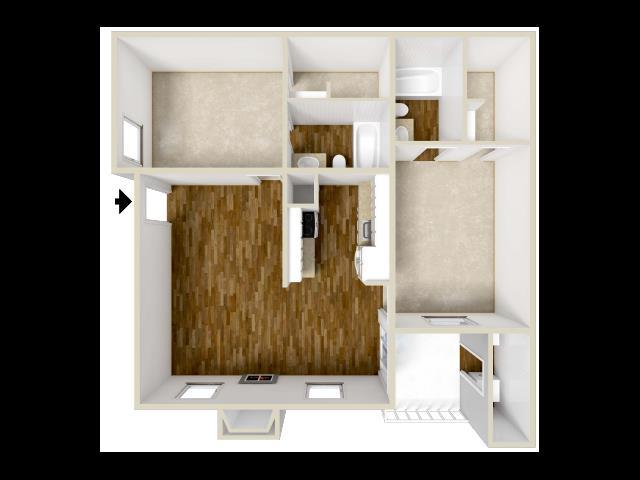 892 sq. ft. floor plan