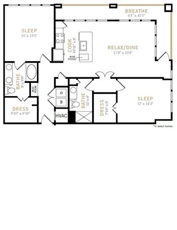 1,293 sq. ft. B9 floor plan