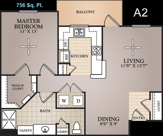 756 sq. ft. to 836 sq. ft. Moreua floor plan