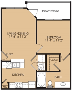 611 sq. ft. A1 floor plan