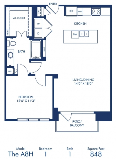 848 sq. ft. A8A floor plan