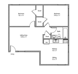 710 sq. ft. Noble floor plan