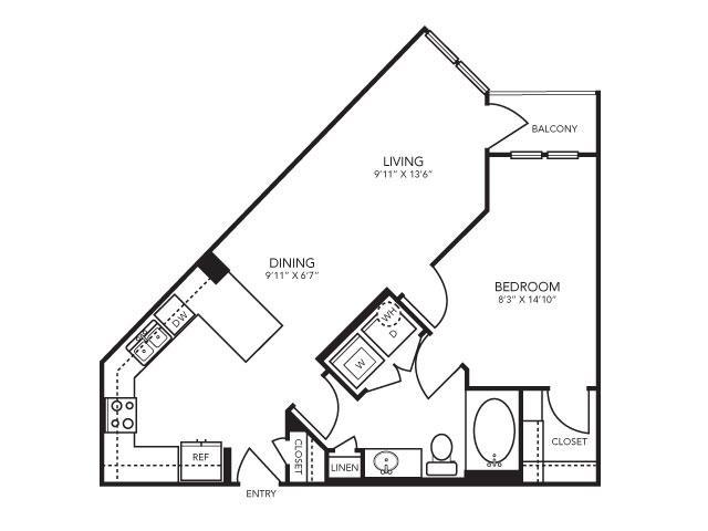685 sq. ft. A3 floor plan