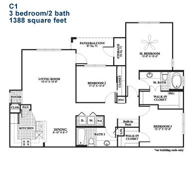 1,388 sq. ft. C1 floor plan