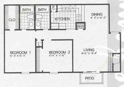 1,010 sq. ft. B3 floor plan