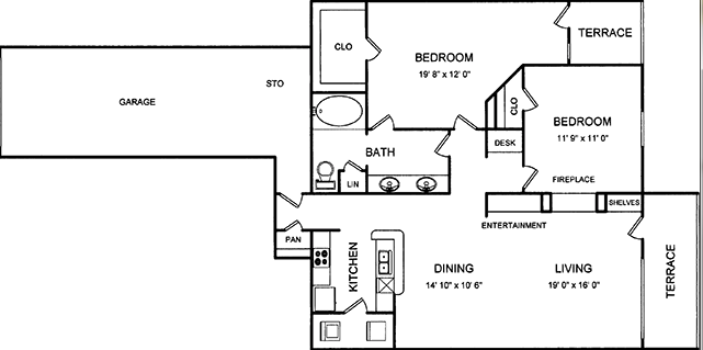 1,103 sq. ft. floor plan