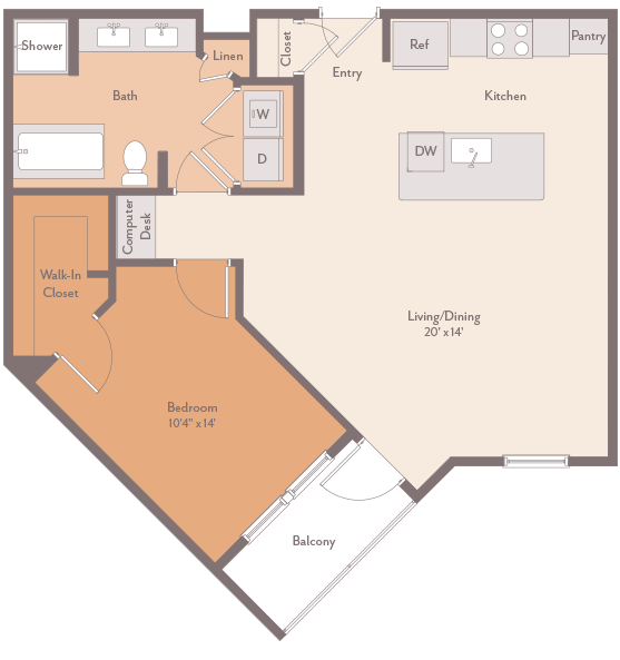 857 sq. ft. Kirby-A3 floor plan